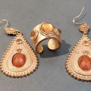 Jewelry - Dangle earrings and adjustable ring.